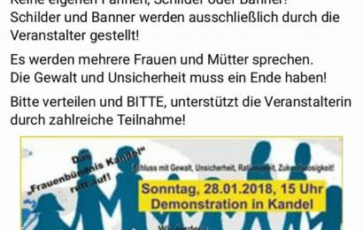 DEMONSTRATION IN KANDEL! Am 28.1. um 15 Uhr.