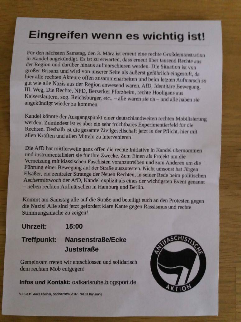 AUFRUF der Antifa Demo Kandel!