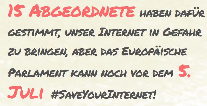 Zeigen Sie Zivilcourage und fordern Sie Europa dazu auf, Ihr Internet zu schützen.