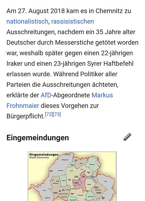 Sogar Wikipedia berichtet über Chemnitz